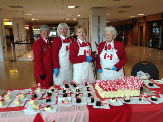 July - Canada Day cake served by our Red Coat Volunteers!