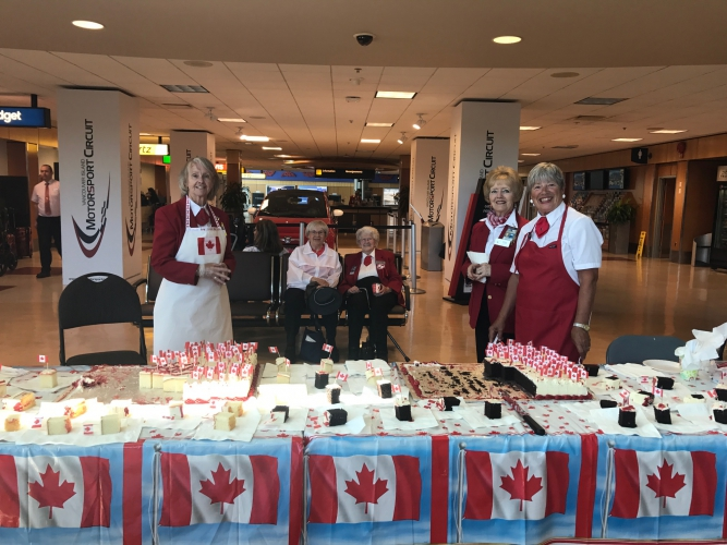 July - It's tradition for our Red Coat Volunteers to hand out birthday cake every Canada Day.
