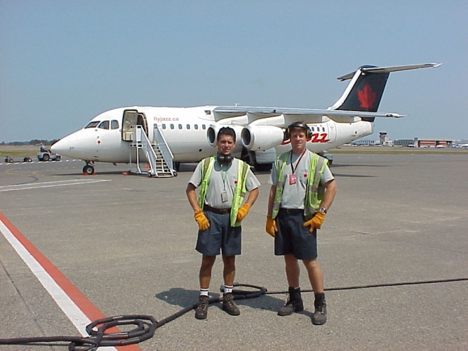 Eddie Vieites and Curtis Grober, Air Canada Jazz ramp attendants for the BAe-146.