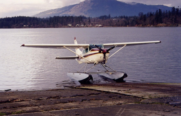 Float plane on the ramp at Pat Bay Seaplane Base.