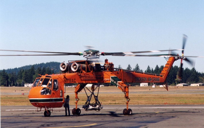Skycrane used for helicopter logging.
