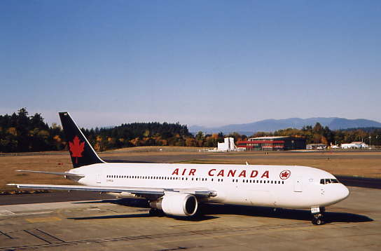 Air Canada's Boeing 767 diverted to Victoria because of fog in Vancouver.