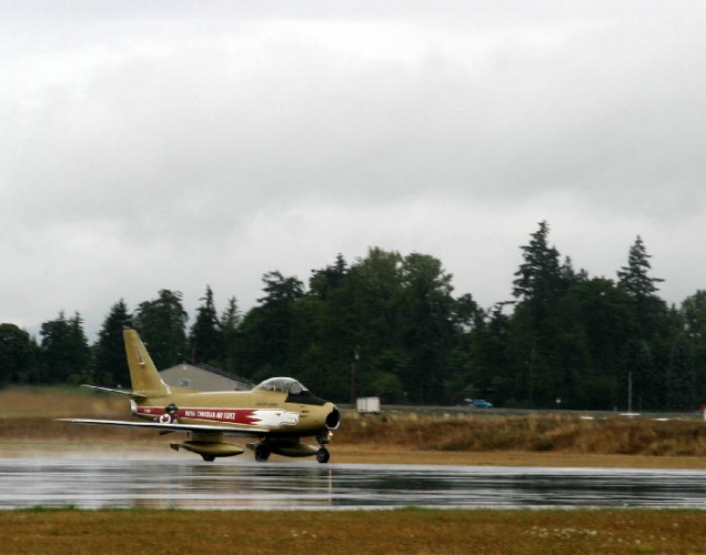 Hawk One, the recently restored F-86 Sabre visited Victoria on August 10th, 2009.