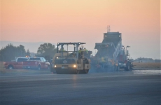 Photo of runway construction vehicles