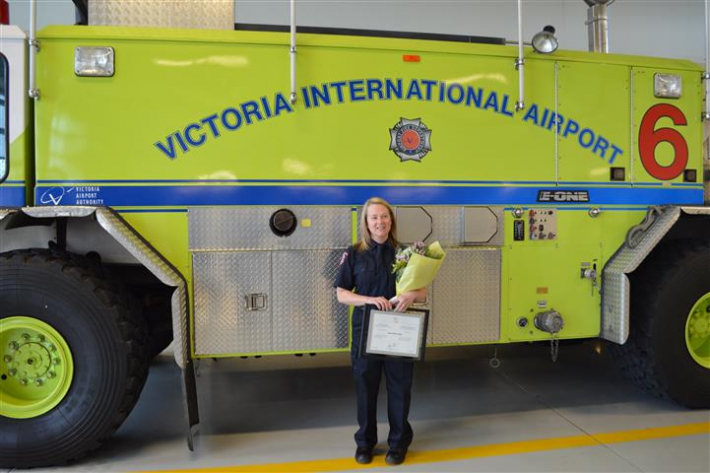 February - Victoria Airport Authority (VAA) Anna-Marie receives 20 year fire fighting service award.