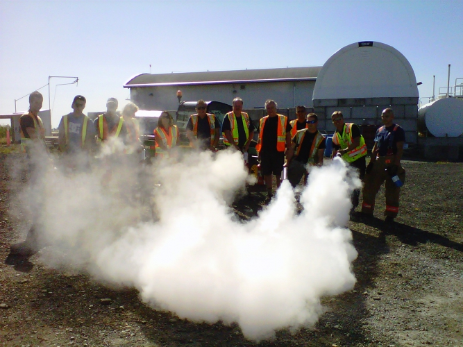July - VAA staff taking fire extinguisher training.