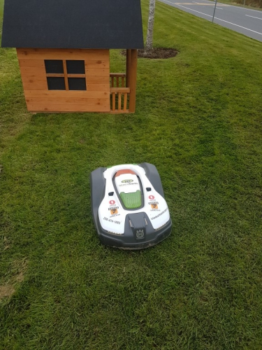 April - Our new robotic mower,