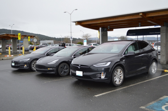 January - New model Tesla's visit YYJ's electric vehicle charging stations.