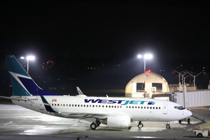 March - WestJet's overnight spot on Aircraft Stand 10.